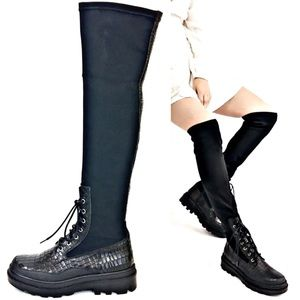 FREE PEOPLE Black Stretch Croc Embossed Knee High Boots